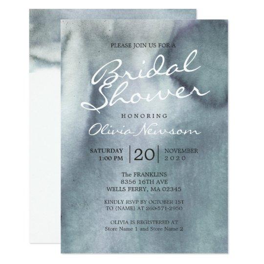 Misty Blue Grey Ocean Watercolor Bridal Shower Card