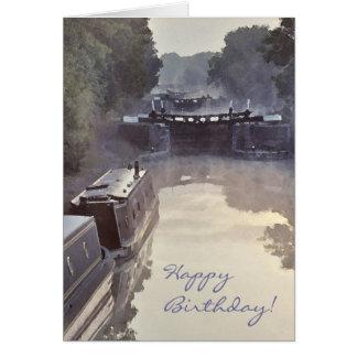 Misty canal dawn birthday card