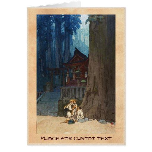 Misty day in Nikko Hiroshi Yoshida woodblock art Card