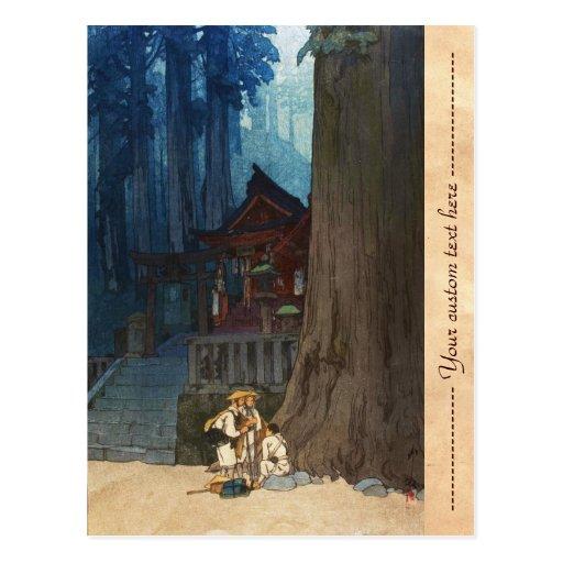 Misty day in Nikko Hiroshi Yoshida woodblock art Postcards