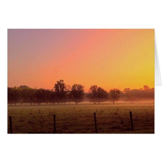 Misty Farm Sunrise Card