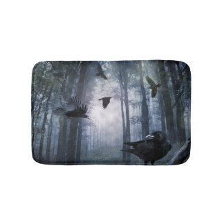 Misty Forest Crows Bath Mats