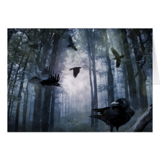 Misty Forest Crows Greeting Card