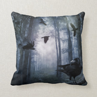 Misty Forest Crows Throw Pillow