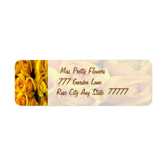Misty Golden Yellow Roses Return Address Label