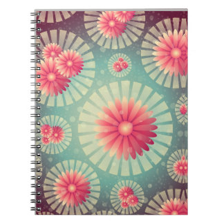 Misty Green and Pink Daisies Notebook