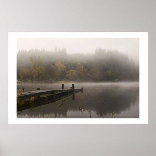 Misty Jetty - Loch Ard, Scotland Print