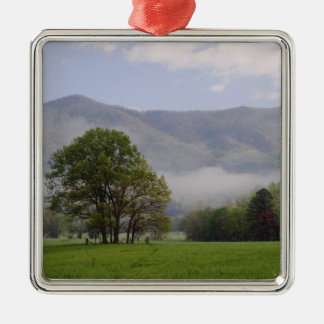 Misty meadow and Rich Mountain, Cades Cove, Silver-Colored Square Decoration