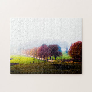Misty meadow in autumn jigsaw puzzle