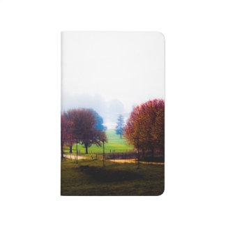 Misty meadow in autumn journal