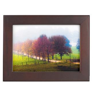 Misty meadow in autumn keepsake box
