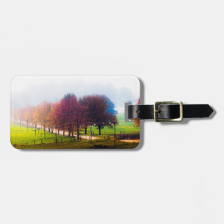 Misty meadow in autumn luggage tag