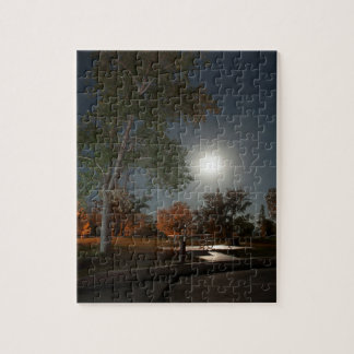 Misty moon, night sky at huntington state park jigsaw puzzle