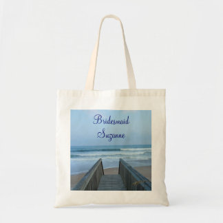 Misty Morning Beach and Pier Wedding Bridesmaid's Budget Tote Bag