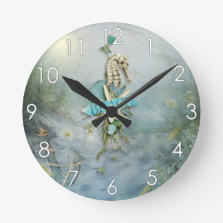 Misty Morning Beach seahorse anchor nautical Round Clock