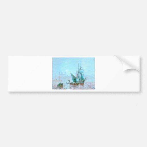 Misty Morning Harbor Boats Bumper Sticker