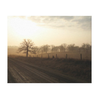 Misty Morning In March Stretched Canvas Print
