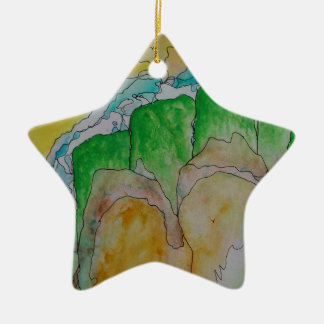 misty mountainside christmas ornament
