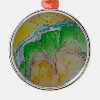 misty mountainside Silver-Colored round decoration