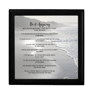 Misty Ocean Beach Do It Anyway Large Square Gift Box