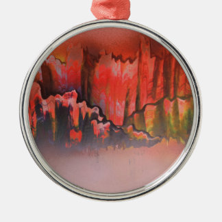 Misty Red Mountains Silver-Colored Round Decoration