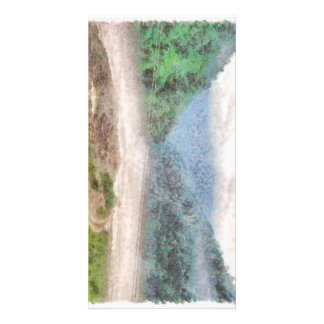 Misty river in the mountains photo greeting card