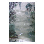 Misty River with Moss Custom Stationery