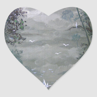 Misty River with Moss Heart Sticker