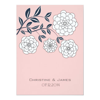 Misty rose, white and navy floral invitation