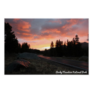Misty Sunrise at Rocky Mountain Nat'l Park Poster