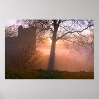 Misty sunset, Kendal Castle - poster