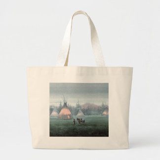 MISTY TIPI CAMP by SHARON SHARPE Large Tote Bag