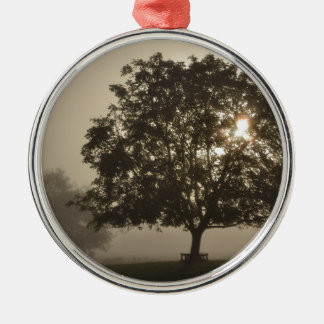 Misty Trees Silver-Colored Round Decoration