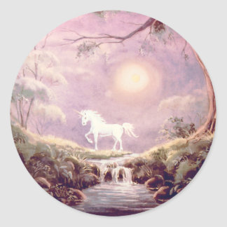 MISTY UNICORN by SHARON SHARPE Round Stickers