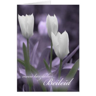 Mit Sympathie German Language Sympathy WhiteTulips Greeting Card