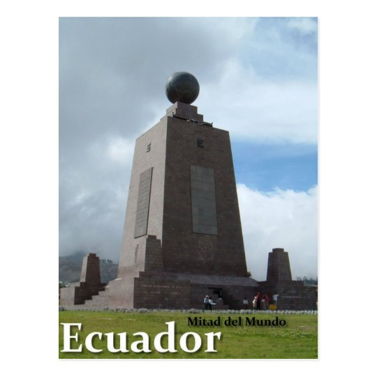 Mitad del Mundo Ecuador equator line monument. Postcard