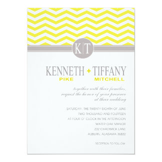 Mitchell Chevron Monogram yellow Wedding Card