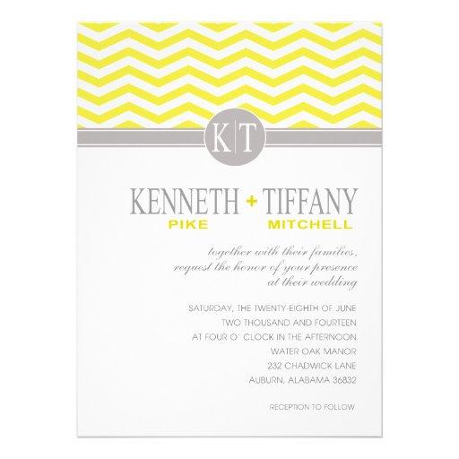 Mitchell Chevron Monogram yellow Wedding Personalized Invites