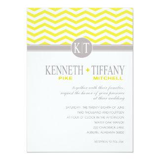 "Mitchell Chevron Monogram yellow Wedding 5.5"" X 7.5"" Invitation Card"