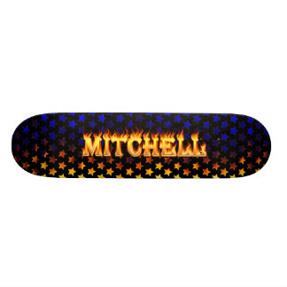 Mitchell skateboard fire and flames design