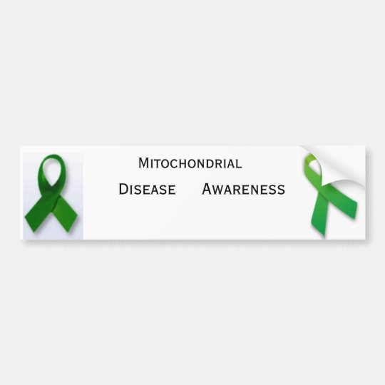Mito_Ribbon, 370px-Green_ribbon_svg, Mitochondr... Bumper Sticker
