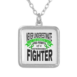 Mitochondrial Disease Determined Fighter Square Pendant Necklace
