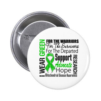 Mitochondrial Disease I Wear Green Ribbon Tribute Buttons