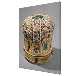Mitre crown set with pearls and precious canvas print