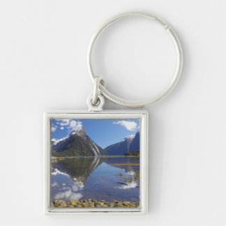 Mitre Peak, Milford Sound, Fiordland National Silver-Colored Square Key Ring