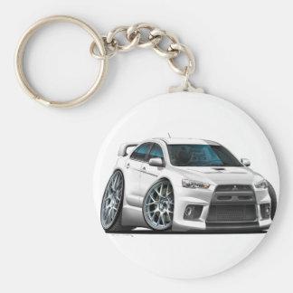Mitsubishi Evo White Car Basic Round Button Key Ring