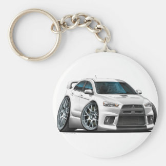 Mitsubishi Evo White Car Key Ring