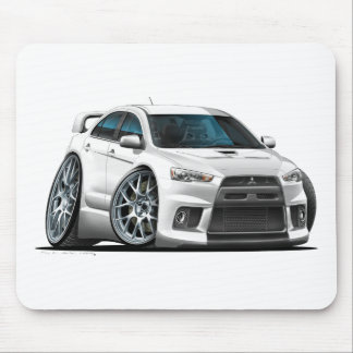 Mitsubishi Evo White Car Mouse Mat