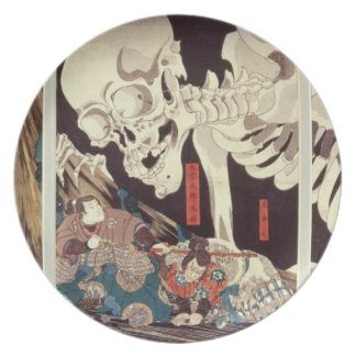 Mitsukini Defying the Skeleton Spectre, c.1845 Party Plate