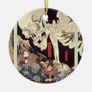 Mitsukini Defying the Skeleton Spectre, c.1845 Round Ceramic Decoration